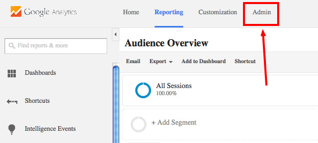 admin tab for google analytics