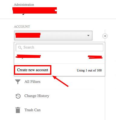 google analytics create new account